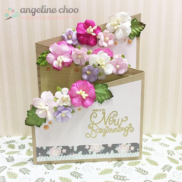 ScrappyScrappy: Flower Garden Z-fold card #scrappyscrappy #dcwv #unitystampco #flowers #zfoldcard #card #emboss