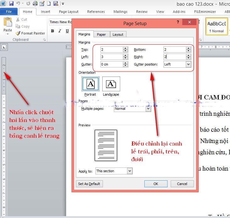 Canh lề chuẩn và đánh mục lục tự động trong báo cáo 1