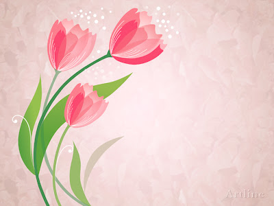 Flower Vector Floral Backgrounds lovely pink flowers with green leaves and blue flowers on beautifulbackgrounds