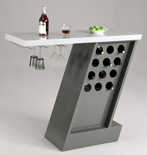 Modern style bar table with wine bottle storage
