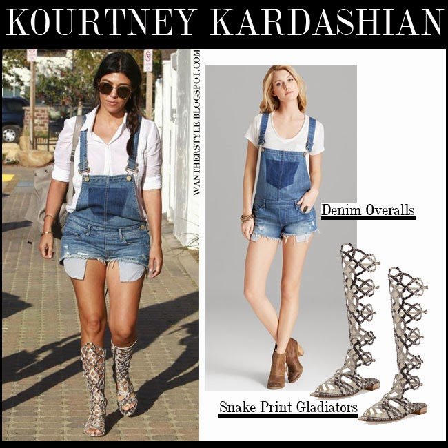 Kourtney Kardashian in blue denim overalls blanknyc, white shirt with leather gladiator sandals stuart weitzman want her style