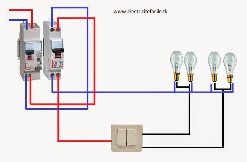 Schema electrique installer un interrupteur double allumage avec plusieurs l - Comment brancher un interrupteur double ...