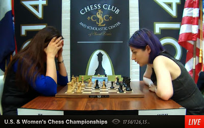 Face à face entre Anna Zatonskih et Tatev Abrahamyan au  championnat d'échecs américain