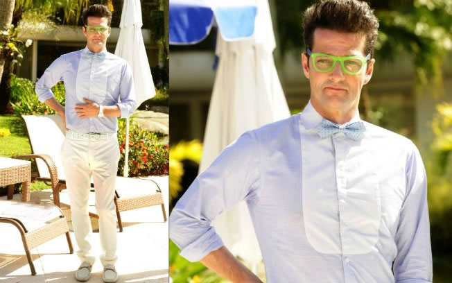 O personagem do ator Marcelo Serrado em 'Fina Estampa', o mordomo Crô, adora o estilo nerd. O óculos wayfarer é bicolor e tem tons vivos, ótimo para realçar o visual (Foto: Reprodução/TV)