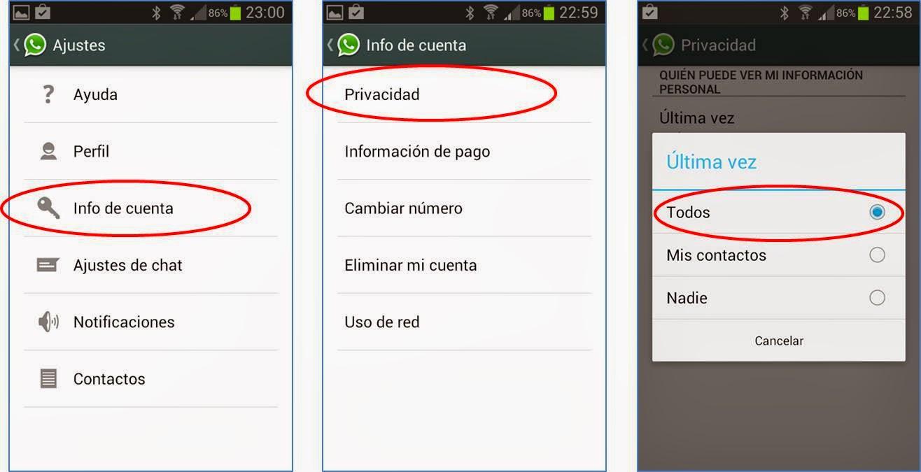Whatsapp pasos para configurar ultima hora conexion Android
