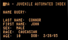 "John Connor's entry on the police database, listing his race as ""Caucasian"""