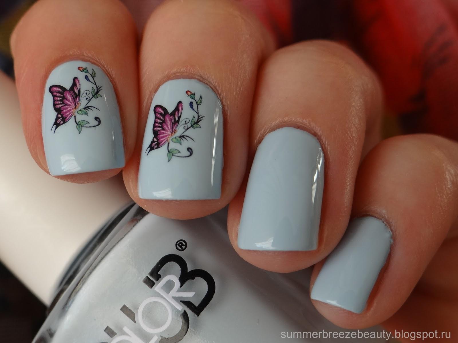 Фото ногтей френч с бабочкой