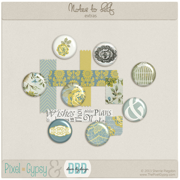 Notes to Self Digital Scrapbooking Embellishment Extras