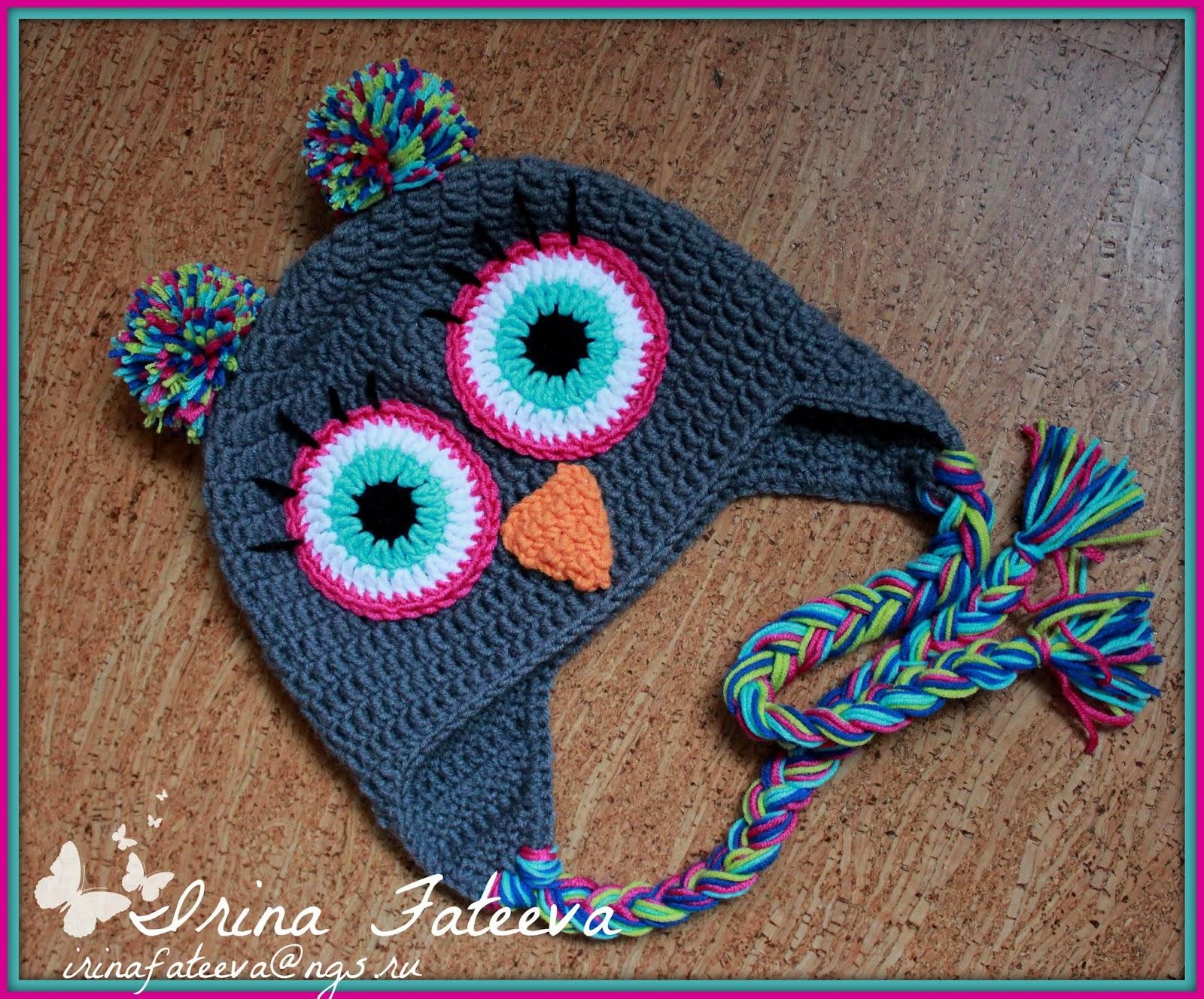 детская шапка сова крючком схема видео