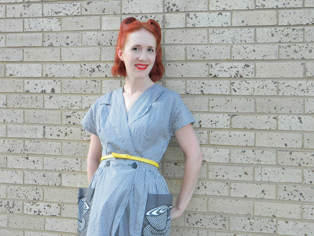1950s gingham house dress coffee cut pockets wrap redhead victory rolls Just Peachy, Darling