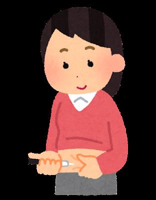 インスリン注射のイラスト(女性)