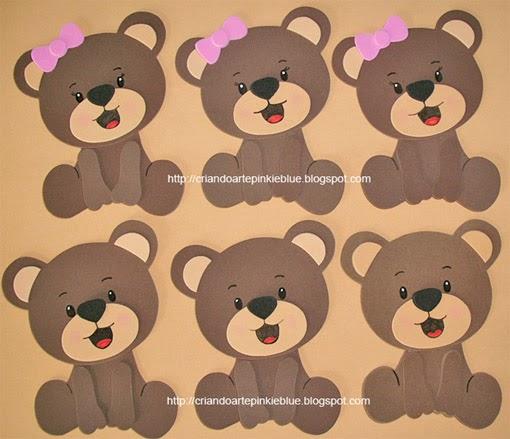 Pinkie Blue Artigos Para Festa Ursinhos Apliques 01