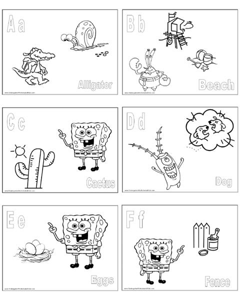 SpongeBob Alphabet Coloring Pages