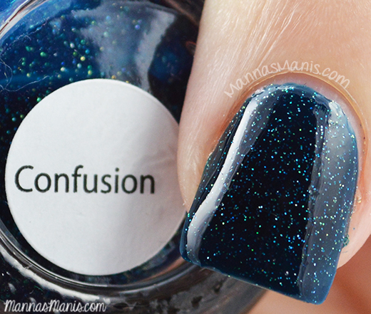 Aliquid Lacquer Confusion, a teal jelly nail polish