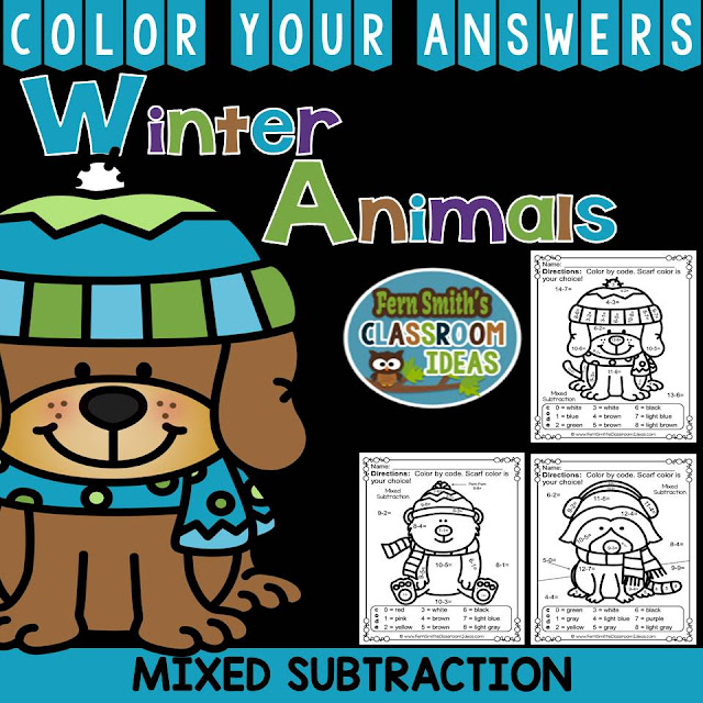 Winter Math: Winter Fun! The Mitten Winter Animals Subtraction Facts - Color Your Answers Printables