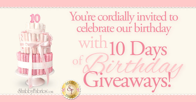 10 Days of Birthday Giveaways | Shabby Fabrics
