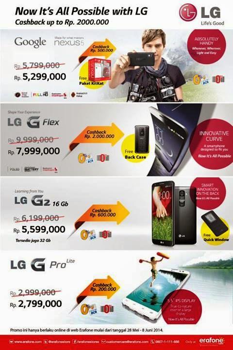 Promo cashback Android LG di Erafone