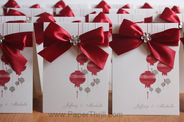 Chinese asian lantern wedding invitation card