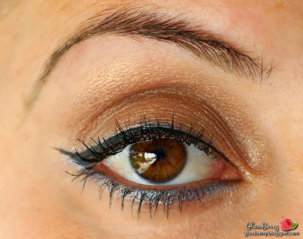 Bobbi brown sequin palette mac industrial big fatty urban decay mascara eye makeup tutorial swatch review eyeball מראה איפור שימרי בובי בראון צלליות חומות שמפניה ורודות עיפרון כחול בלוג איפור וטיפוח גלוסברי glossberry beauty blog