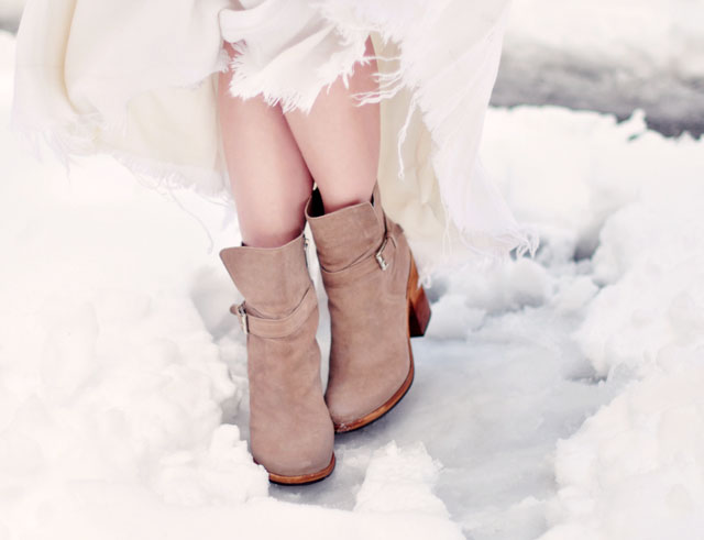 ankle boots in the snow, winter style