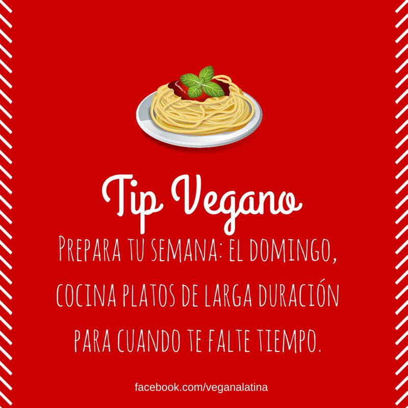 Tip Vegano: Prepara tu semana: El domingo, cocina platos de larga duración para cuando te falte tiempo