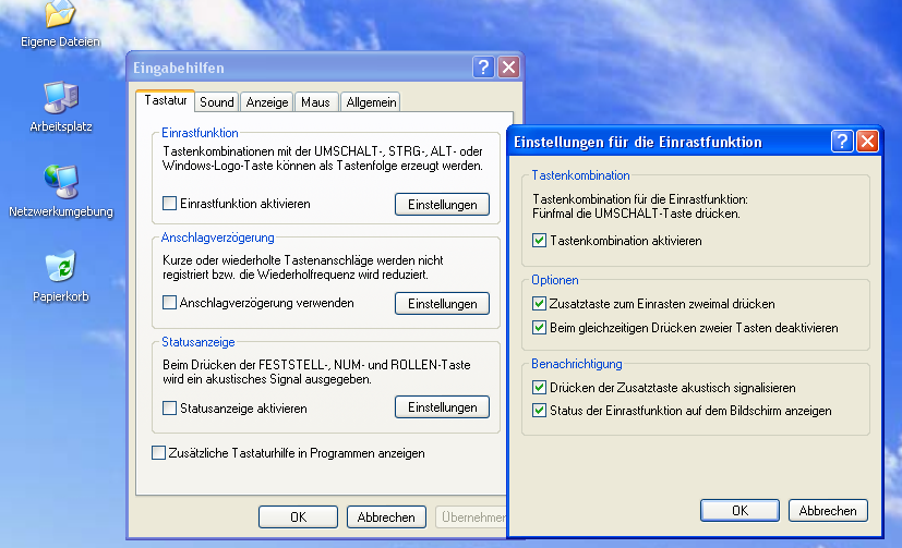 Einrastfunktion - Windows XP