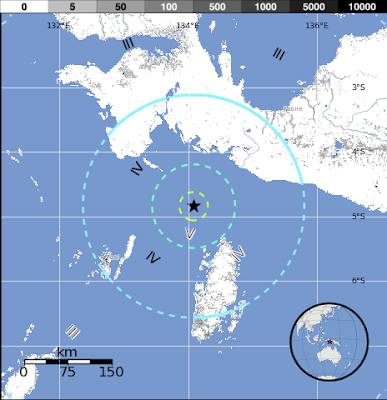 Epicentro terremoto 6,7 grados Indonesia 12 de Octubre 2012