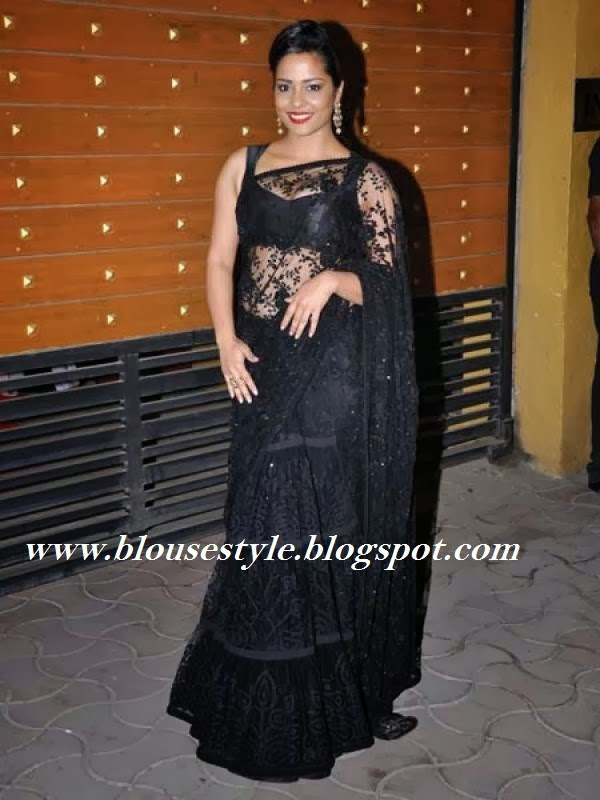 black lace saree with sleeve less blouse