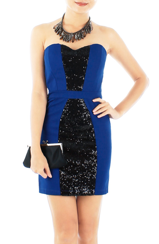 Ultramarine STAR Sequin Bandeau Party Dress