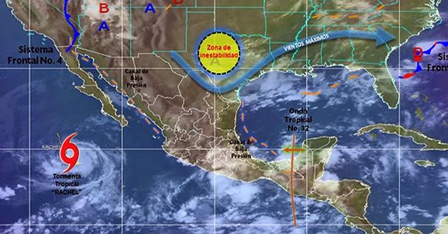 "TORMENTA ""RACHEL"" SE ALEJA DE MEXICO, 27 de septiembre 2014"