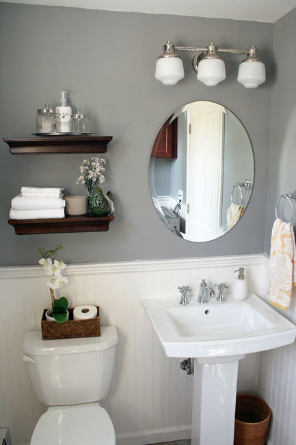 It 39 s just paper at home powder room renovation for Grey bathroom decorating ideas