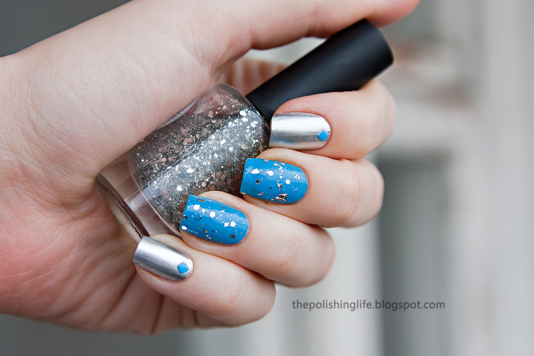 Metallic Nails with Kiko 616 Silver Mirror & 295 Cerulean Blue, I Love Nail Polish (ILNP) Silver Spoons + Born Pretty neon studs
