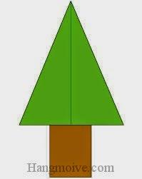 Bước 9: Dùng keo dán hai tờ giấy lại để hoàn thành cách xếp cái cây bằng giấy origami đơn giản.