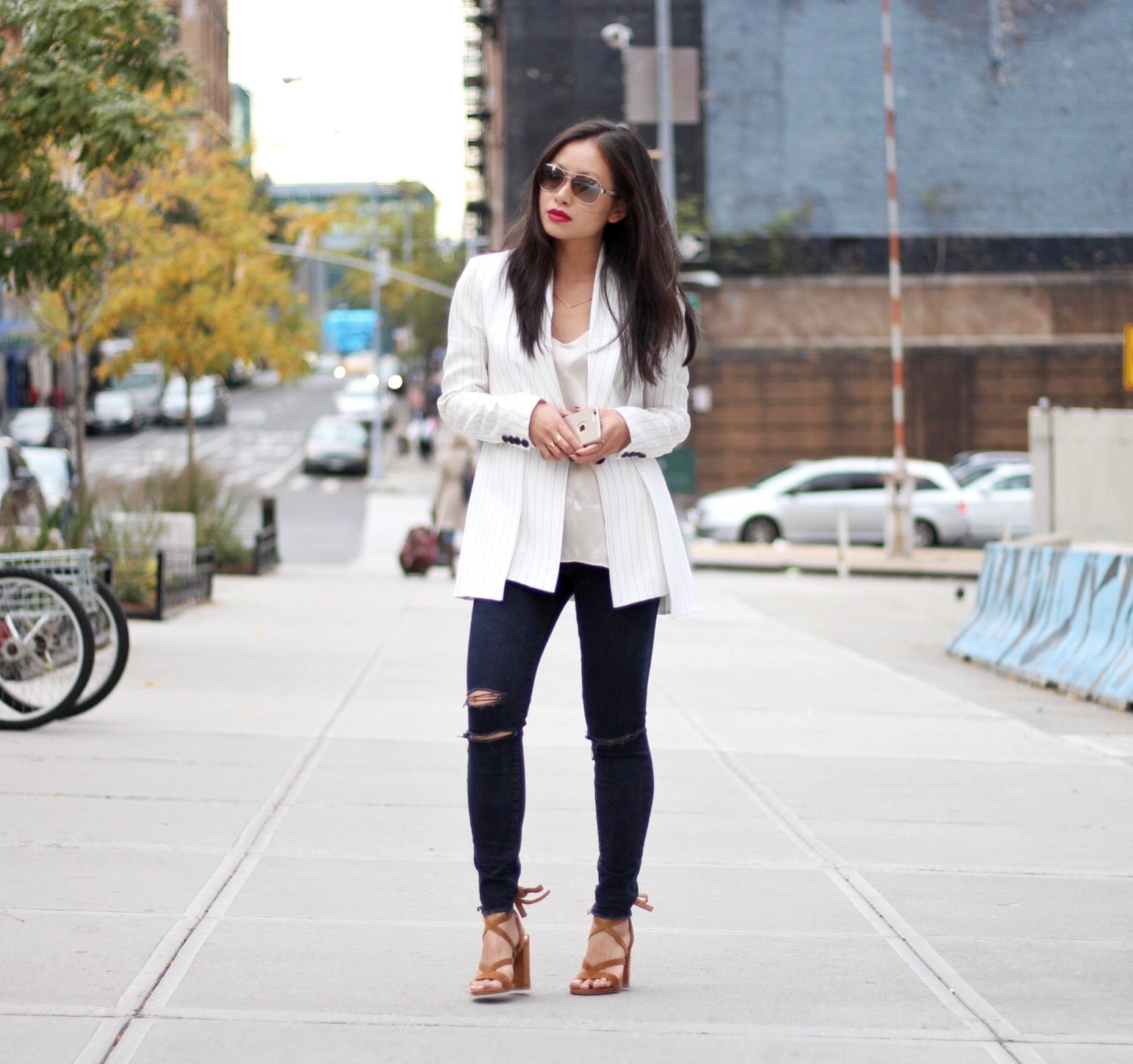 Pinstriped Thakoon blazer Rag & Bone cami J Brand blue mercy jeans Gianvito Rossi suede sandals