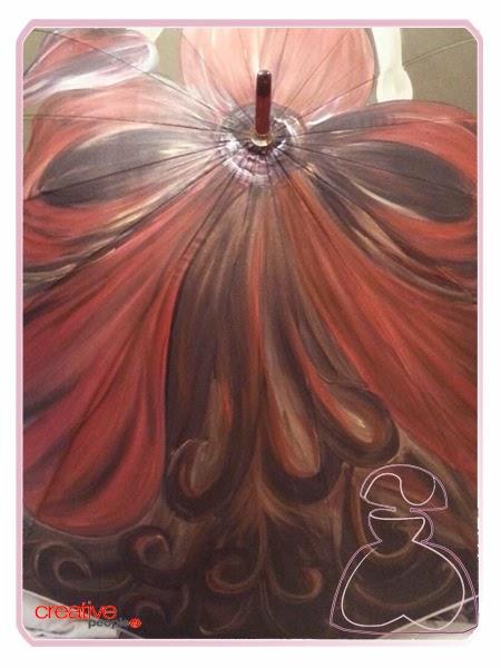 Paraguas modelo flamenca pintado a mano por Sylvia Lopez Morant