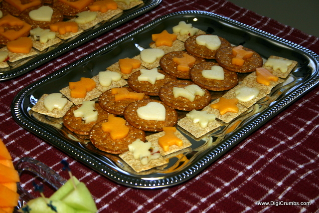 fun food item to serve at a baby shower cut out cheese crackers