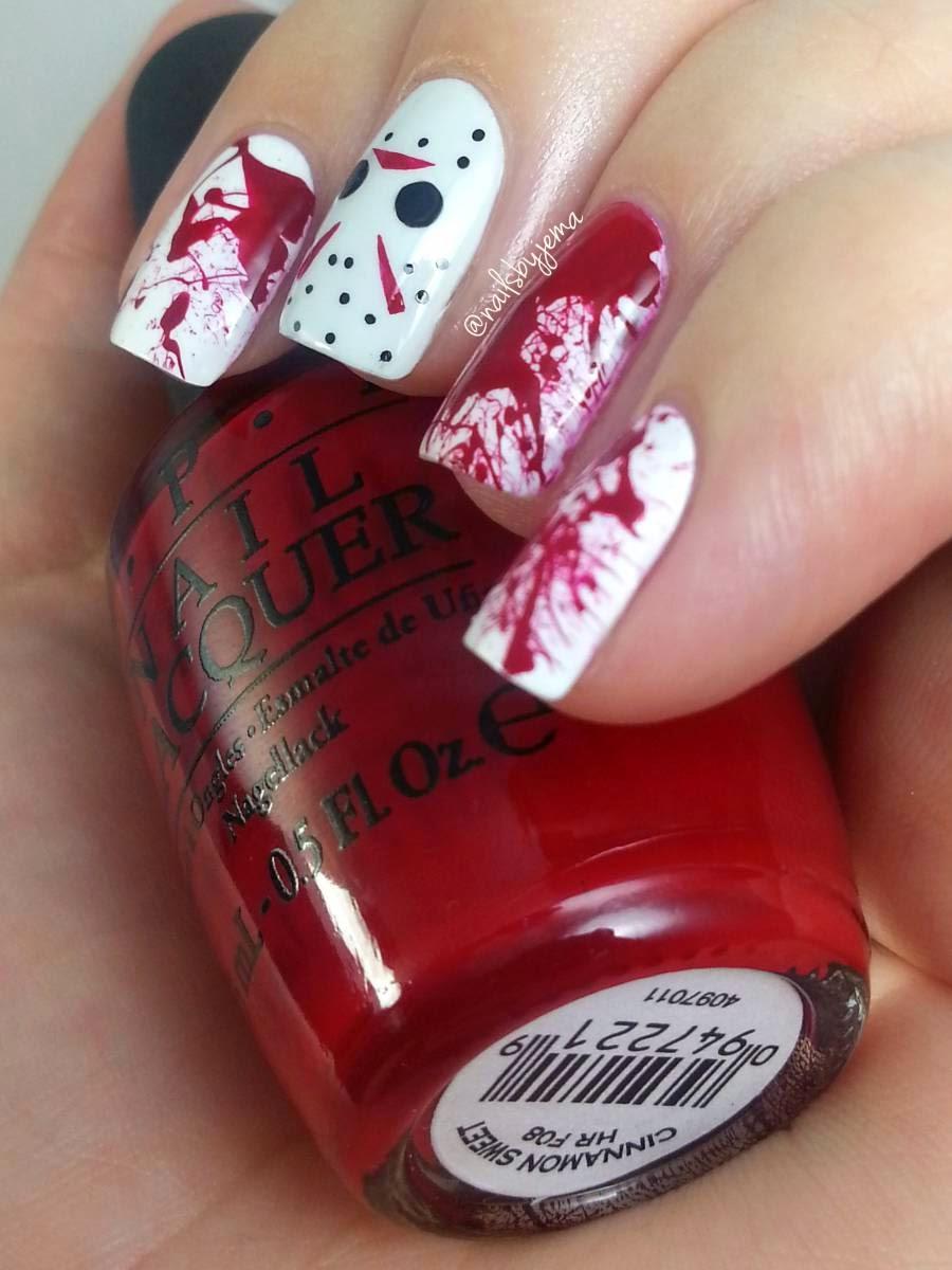 Nails By Jema: Jason Voorhees & Blood Splatter Nails & Tutorials ...