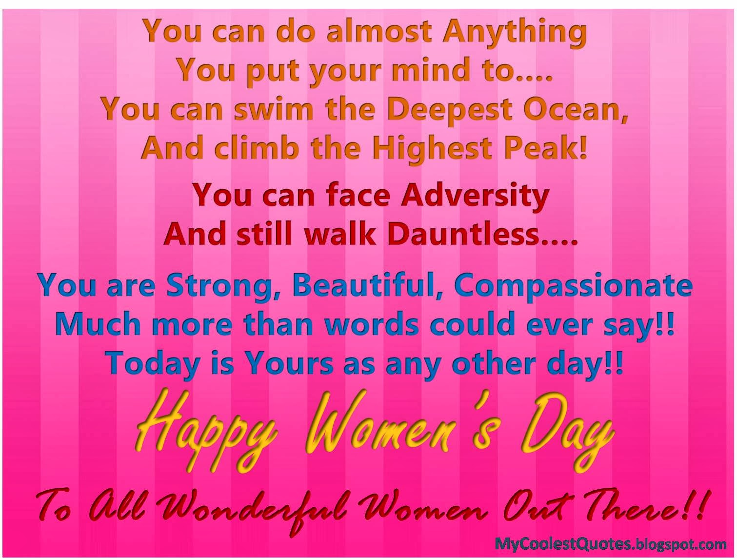 News updates movies messages happy womens day warm messages she is always ahead she is always ahead of what she may all the best wishes for you on this special day happy womens day kristyandbryce Images
