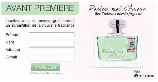 Echantillon gratuit de parfum « Parlez-moi d'Amour » de John Galliano. bon plan parfum