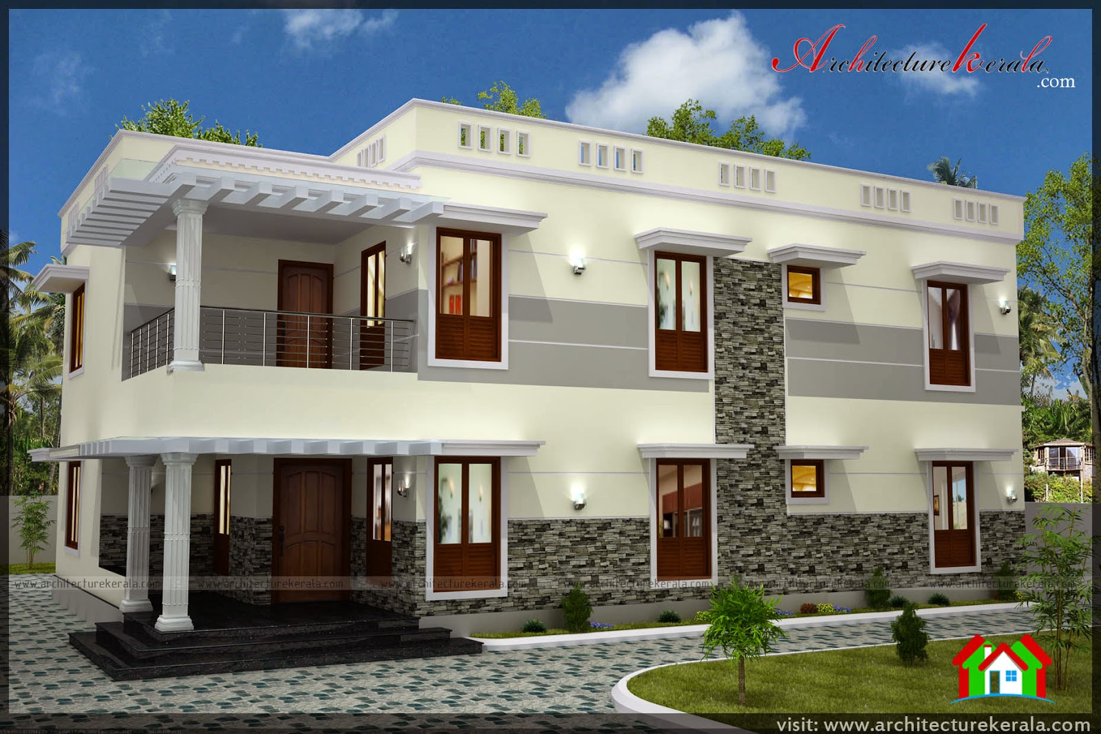 Five bedroom house plan image and elevation architecture for 4 bedroom kerala house plans and elevations