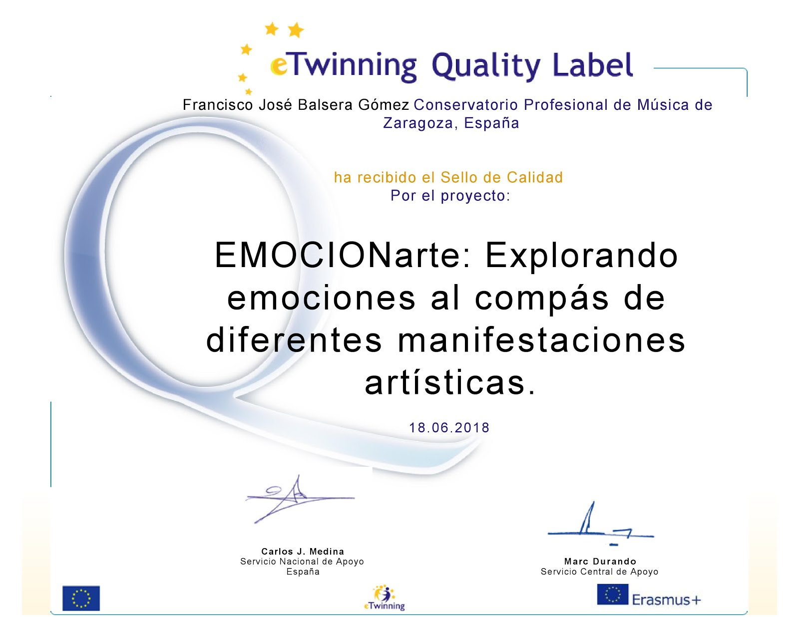 Sello de calidad eTwinning 2018