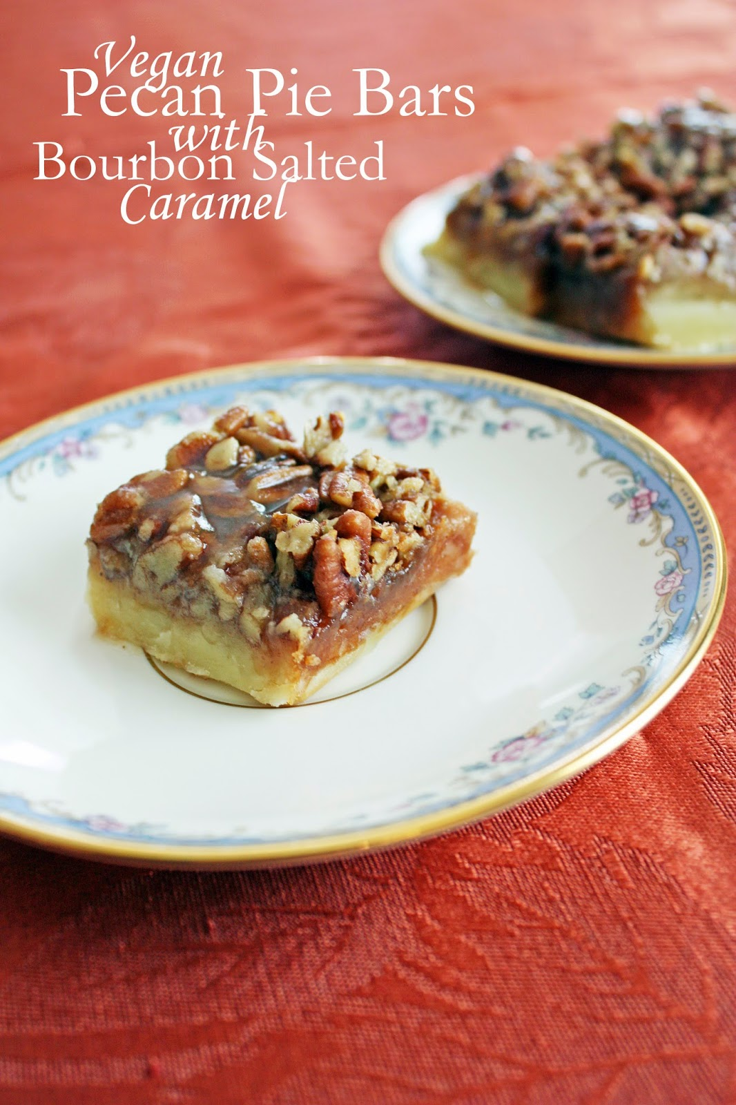 salty sweet pecan pie bars with bourbon caramel sauce