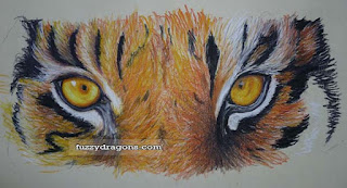 coloured pencil tiger fuzzydragons.com
