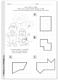 Shapes: split in half and... puzzle to think kids