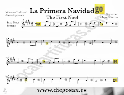 Tubescore The First Noel sheet music for Tenor and Soprano Saxophone Christmas Carol traditional music score