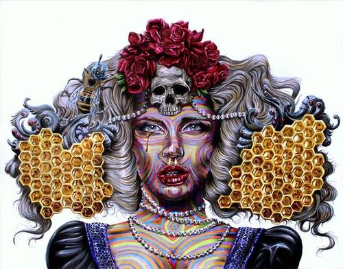 15-Queen-Bee-Joshua-Roman-Rainbow-Portraits-Drawings-Illustrations-www-designstack-co