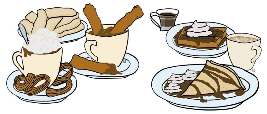 Il·lustracions de cafès, xocolates, xurros i creps per la gelateria Giovanni d'Esparreguera. ©Imma Mestre Cunillera