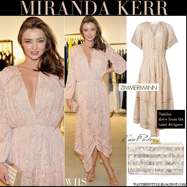 Miranda Kerr in light pink asymmetric hem Zimmermannmaxi dress with gold sandals and striped Edie Parker clutch what she wore july 29