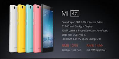 Xiaomi Mi 4c, Spesifikasi Xiaomi Mi 4c, Full HD display, smartphone baru, new Android smartphone, fitur kamera, harga Mi 4c, spesifikasi Mi 4c