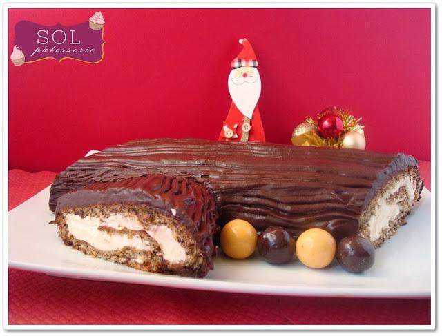Bûche de Noël au chocolat rapé et crème à la vanille - Tronco de Natal de chocolate ralado com creme de baunilha